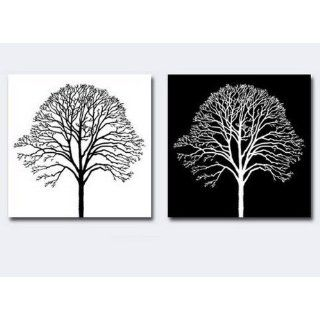 2 Piece Canvas Art Tree of Life Black and White Modern Art