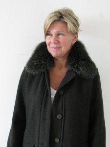 Mint Hilary Radley Loden Green Boiled Wool Real Fox Fur Ladies Coat