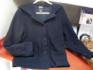 Ladies Sz 8 Hilary Radley Studio Black Wool Hooded Coat