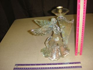 Clear Plastic Luster Angel Harp Candle Holder Tree Topper Vintage