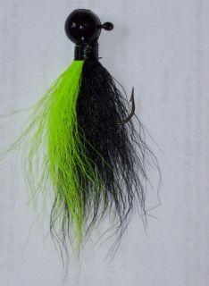 4pk 1 2oz Ball Head Hair Jigs Black Chartreuse Black