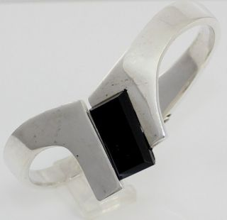 Sterling Silver 925 Heavy Hinged Clamper Black Onyx Bangle Bracelet