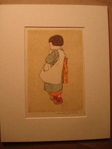 Hiroshi Yoshida Woodblock Print Small Child