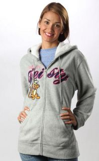 Disney Feisty Tigger Gray Fleece Zip Up Jacket Hoodie Sweatshirt s M L