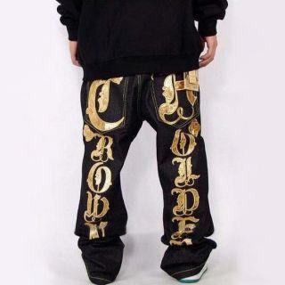 Mens Jeans Crown Holder Baggy Loose Denim Hip Hop Rap Streetwear