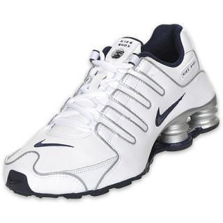 Boys Gradeschool Nike Shox NZ White/Silver/Navy
