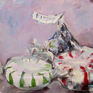 Christmas Candy Kiss Mints Original Oil Painting Realism Still Life by