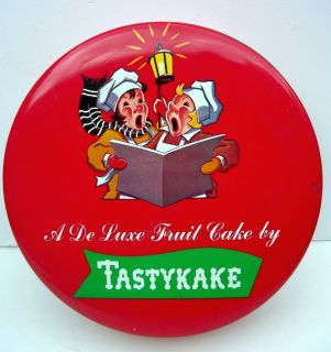 Tastykake Holiday Fruit Cake Tin Christmas Carolers Decor Cookies
