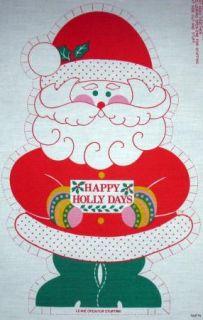 Happy Holly Days Santa Claus Fabric Panel VTNS Makes 2 Christmas Dolls