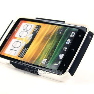 Black White Rhino Kickstand Hybrid Case + Holste for HTC ONE X AT&T