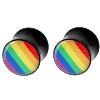 4g 5mm Acrylic Rainbow Logo Ear Plugs Gauges Double Flare (Sold By