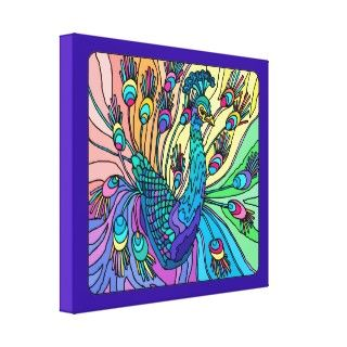 Peacock Shows Is Feahers 3D Wrapped Canvas Prin Gallery Wrap Canvas