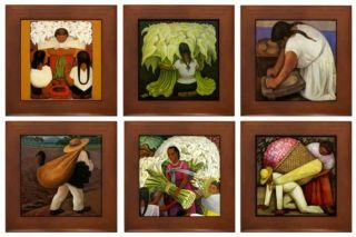 These unique framed tiles show reproductions of Diego Rivera paintings