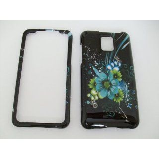 LG G2X/P999   Blue Green Flowers Vines Black Hard Phone
