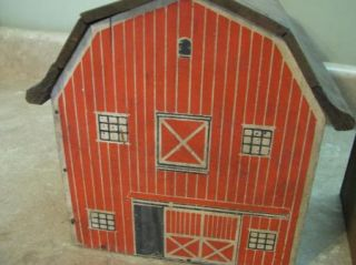 Red Barn Tool Shed Vintage Antique Primitive Wooden Toy Play Set Farm