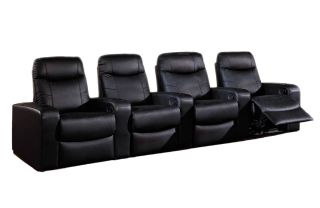 Leather Home Theater Seats Seating   4 Black Recliners Recline Chairs