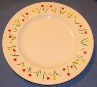 Homer Laughlin Tulip 10 Dinner Plates M83 Flowers Red Yellow China