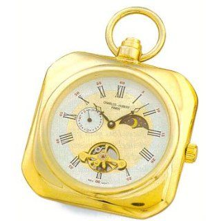 Pocket Watch   14k Gold plated Open Face Sun/Moon Dial, Squared Pocket