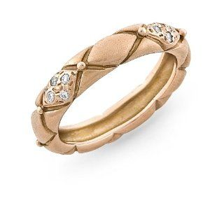 Rose Gold Quilted Ring in Matte Finish with Pave Diamonds Jewelry