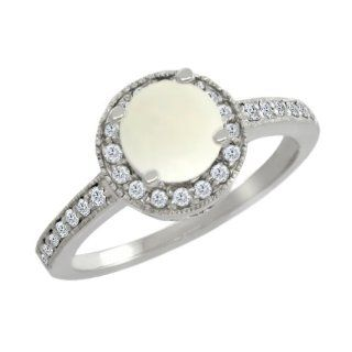 95 Ct Round White Opal White Diamond 10K White Gold Ring Jewelry