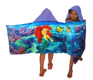 Ariel Little Mermaid Girl Hooded Towel Cotton 23 in x 51 in New