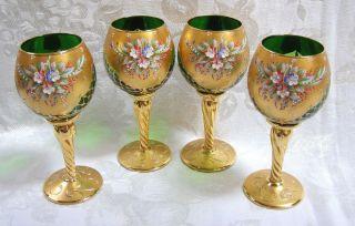 Gorgeous Green Nelio Gigli Venetian Water Goblets 24 Karat Gold NWT