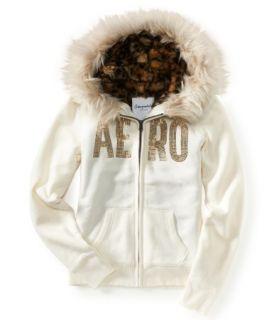 Fur Trimmed Sweatshirt Hoodie Jacket s Small Milk White