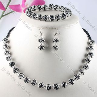 Crystal Glass Flower Bead Cap Necklace Bracelet Hook Earrings Jewelry
