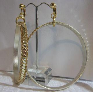 Clip on 3 Laser Cut Gold Glitter Hoop Earrings J230 Juicebox Jewels