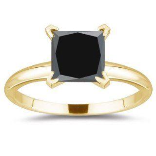71 0.80) Ct Princess Cut Black Diamond Ring in 18K Yellow Gold