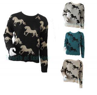 Women Ladies Horses Print Crew Neck Long Sleeve Knit Jumper Top Size 8