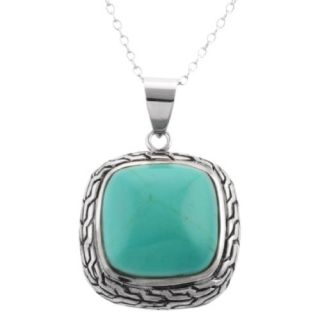 Sterling Silver Square Braided Turquoise Pendant Necklace