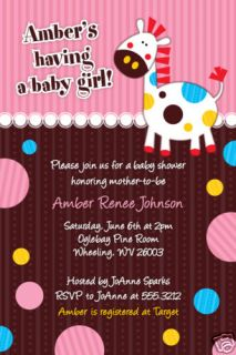 Cute Colorful Horsey Custom Baby Shower Invitations