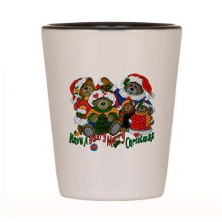 Shot Glass White and Black of Have A Beary Merry Christmas