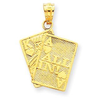 14k Yellow Gold Ace of Hearts & King of Hearts All In Cards Pendant