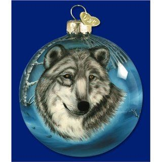 Old World Christmas Inside Art Wolf Head Glass Christmas