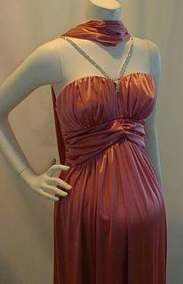 New Pink Satin VNeck Rhines Maternity Dress Small Sexy