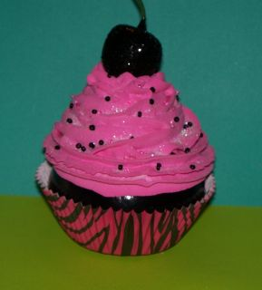 Hot Pink and Black Zebra Fake Cupcake for Birthdays, Party Decorations
