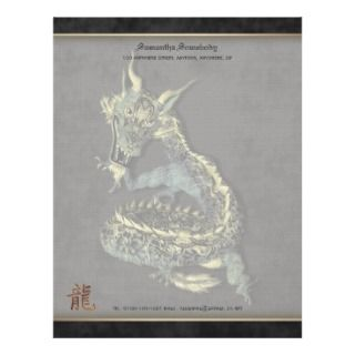 Chinese Blue Dragon Writing Paper Letterhead
