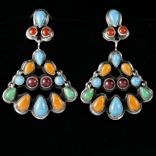 Navajo Geneva Apachito Hotevilla Earrings Turquoise Sterling Silver
