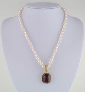 14KT Yellw Gold Ep 10Ct Sim Purple Amethyst Cz Pendant w/ White Glass