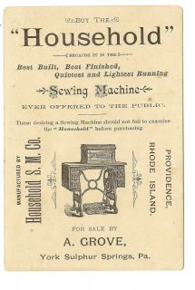 Household Sewing Machine Victorian Trade Card Elf Egg