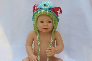 New Red Blue Monster Cyclops Bubu Newborn Baby Child Knit Hat