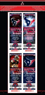 HOUSTON TEXANS NFL CUSTOM BIRTHDAY PARTY TICKET INVITATIONS   LOTS OF