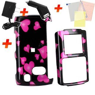 For Samsung Comeback Pink Hearts Black Accessory Bundle