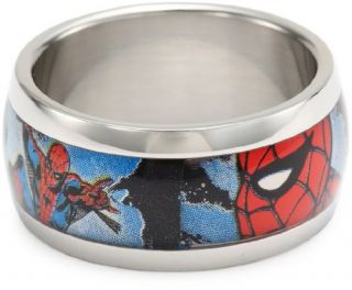 Marvel Comics Spider Man Stainless Steel Graphic Mens Ring Jewelry