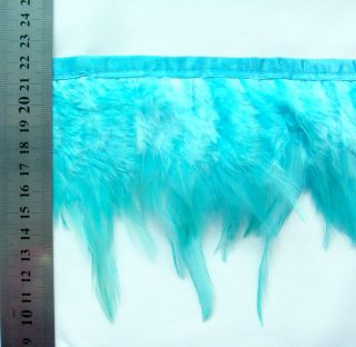 F215 per Feet Teal Blue Rooster Hackle Feather Fringe Trim Fascinator