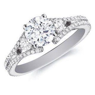 14k White Gold Bette Diamond Solitaire with Diamond