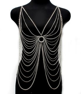 Basketball Wives Wearable Body Chain Necklace Rhinestone Multi Layer
