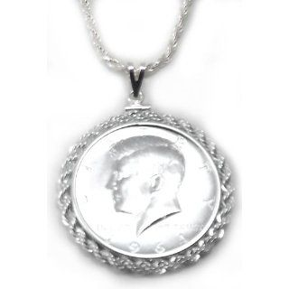 Coin Bezel Sterling Silver Kennedy Half Dollar Pendant Set With Chain